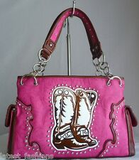 HOT PINK BROWN WHITE BOOT STITCHED EMBROIDERY FLORAL HANDGUN CARRY PURSE HANDBAG