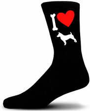 Mens Black Novelty Jack Russel Socks - I Love My Dog Socks