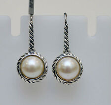 DAVID YURMAN NEW Small Sterling Silver 8mm Cable Wrap Pearl Drop Earrings