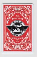 """Steak N Shake """"Famous For Steakburgers"""" Playing Card Red Gift Card Collectible"""