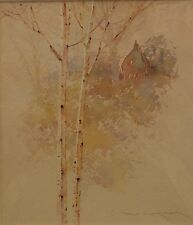 Ged Mitchell original watercolour of Birch Tree and Cabin,  Lonesome Birch