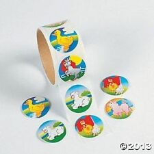 Roll of 100 Farm Animal Theme Stickers Kids Crafts Decor Birthday Party Favors
