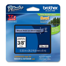 Brother TZ121 TZe121 9mm black on clear TZ tape PT1290RS PTH100 PTH300 PTH300LI