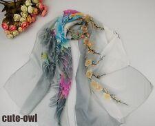 Pretty Lady's Multicolor Floral Print Scarf Chiffon Long Silk Beach Wrap Shawl