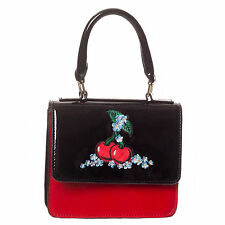 Black Red Patent Kitsch Rockabilly Cherry Vintage 50s Handbag UK