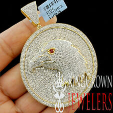 Real Yellow Gold Silver Custom Medallion American Eagle Bird Pendant Big XL 3''