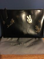 Alexander McQueen Pouch Clutch Bag Black Leather Anya Hindmarch Victory Sticker