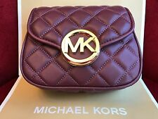 NWT MICHAEL KORS FULTON QUILT SMALL FLAP CROSSBODY BAG IN MERLOT