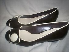 WOMENS SIZE 8M  ETIENNE AIGNER BROWN  PATTEN LEATHER WEDGE HEEL AWESOME