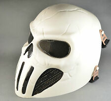 New Full Face Wire Mesh Protection Eyes White Paintball Airsoft Skull Mask HDM40