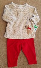 NEW!! CARTER'S NEWBORN 2PC FLEECE SHIRT DEER OUTFIT ADORABLE