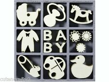 cArt-Us Wooden Embellishment Box - Baby - 45 pieces 3cm (set 7)