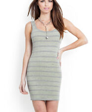 NWT GUESS $79 Contrast Double layered Jersey Tank Dress Gray green stripe L 8 9