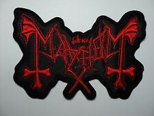 MAYHEM  RED LOGO  SHAPED EMBROIDERED  PATCH