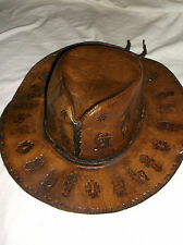 HAND MADE CRAFTED STAMPED TOOLED EMBOSSED BROWN LEATHER COWBOY HAT AZTEC/MAYAN