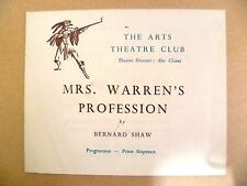 Arts Theatre Programme- MRS. WARREN'S PROFESSION by Bernard Shaw