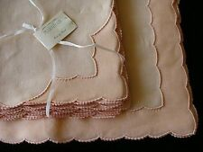 FAB 16pc UNUSED Marghab Linen Organdy Placemats Scallopino MADEIRA Embroidered