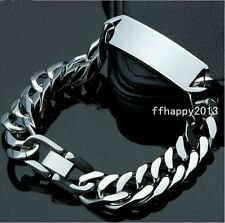 Fashion High Quality Stainless Steel Mens Silver ID Curb Cuban Chain Bracelet