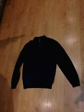 MENS MEDIUM M L/S HUGO BOSS MERINO WOOL POLO SHIRT JUMPER TOP BLUE EXCELLENT