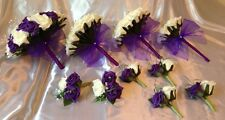 WEDDING PACKAGE-ARTIFICIAL FLOWERS FOAM ROSE BOUQUETS - PURPLE/IVORY BRIDE