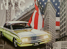 LED LIT CANVAS PICTURE - NYC WITH STARS AND STRIPES - BATTERY OPERATED