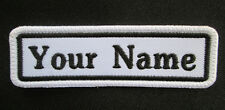 RECTANGULAR CUSTOM EMBROIDERED NAME TAG  Iron / Sew on patch White Background