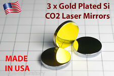 3x Made in USA for CO2 Gold plated Si mirror 25mm 40W-100W laser cutter engraver