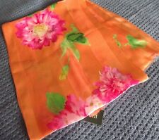 RALPH LAUREN ORANGE MULTICOLOR SILK SCARF ~ NWT