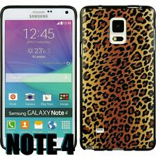 For Samsung Galaxy Note 4 -HARD RUBBER GUMMY GEL CASE BROWN CHEETAH LEOPARD SKIN