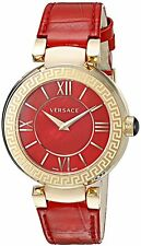 Versace Women's VNC140014 Leda Red MOP Dial Red Leather Roman Numeral Watch