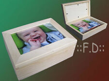 Wooden Box with frame for photo at the top in natural wood colour decoupage