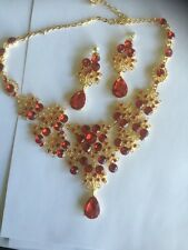 gold earrings and necklace set with red stones handmade  new for 2016 stunning
