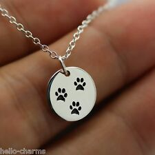 PAW PRINT NECKLACE - 925 Sterling Silver Paw Charm Necklace Pet Dog Cat Animal
