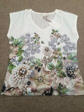 Ted Baker Women's Gem Garden Woven Front V Neck T-Shirt Top. Size 3(uk 12) Bnwt
