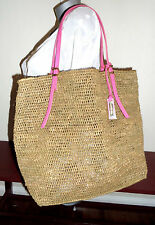 MICHAEL KORS Collection Large GIA Corn Husk PINK Leather Beach Tote Excellent!