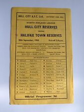 Hull City Reserves v Halifax Town Reserves 1968/1969 - Football Programme