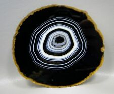 Tuxedo Agate Polished Black Stone Slab 4.25 inch Dyed Brazilian #2