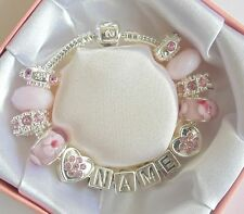 PERSONALISED LADIES/GIRLS CHARM BRACELET BEADS ANY NAME SPARKLING PINK  GIFT BOX