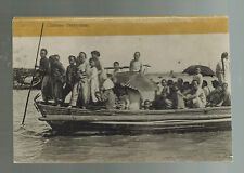 Mint  vintage RPPC China Real Picture Postcard Ferry Boat Crossing River