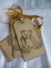 10 etiquetas de regalo tradicional vintage Oso De Peluche De Baby Shower Cumpleaños Hecho a Mano