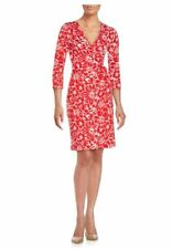 DVF New Julian Two Dahlia small poppy cotton/silk jersey wrap dress NWT 8 $398
