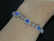 $10,500 LeVian 14K White Gold 5.50ct Purple Tanzanite Chocolate Diamond Bracelet