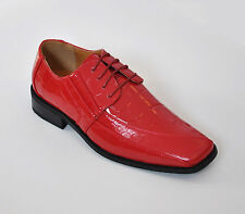 Men's Oxfords Faux Leather Croco Embossed Dress Shoes A5733 Size 8.5 - 16