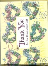 Thank You 10 Count Note Card Thanks for the Bridal Gift Wedding Heart Wreaths