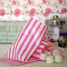 100 Pink & White Stripe Candy/Sweet Bags 5x7 Prime Brand