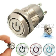 12V 9.5mm LED Power Push Button Switch Waterproof Metal Momentary Latching Type