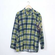 True Vintage Green Plaid Checked Cotton Flannel Grunge Indie Shirt XLarge 44 46