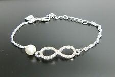 Infinity Armband Blogger Silber Armkette Armschmuck Eternity Unendlichkeit neu