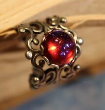 Dragons Breath Mexican Fire opal ring,round 11mm,silver antiqued filigree ring