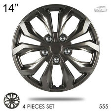 "New 14"" Hubcaps ABS Gunmetal Finish Performance Wheel Covers Set For Hyundai 555"